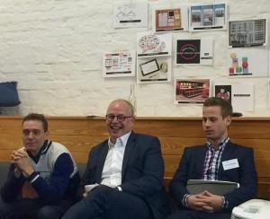 dpa-Chef Sven Gösmann (M.) mit. Roland Freund (dpa, l.) , Yannick Dillinger (Schwäbische Zeitung)
