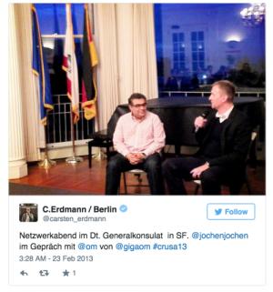 crusa13:Fire side talk im Deutschen generalkonsulat mit Om Malik und Jochen Wegner